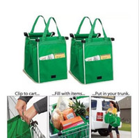 Wholesale Foldable Cart Bag - New Grab Bag Reusable Ecofriendly Shopping Bags That Clips To Your Cart Foldable Shopping Bags Reusable Eco Shopping Tote CCA6277 50pcs