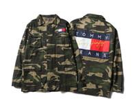 Wholesale Military Jacket Skull Women - OFF WHITE Jackets Men women Hip Hop Camouflage Military Camo Superstar Jacket kanye west Outwear Striped Canvas Skull Justin Bieber Jacket