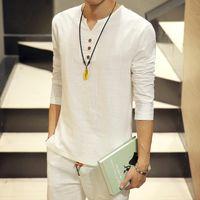 Wholesale Vintage Chinese Shirt - Wholesale- Hot Sale 2016 summer new style Chinese vintage style men shirt men's v-neck Long sleeve linen shirt plus size clothing 5XL