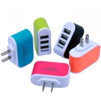 teléfono base iphone al por mayor-Adaptador de viaje de cargador de pared de Candy 3 USB Adaptador de enchufe de corriente con puertos USB triples para iphone 7 samsung S8 teléfono móvil