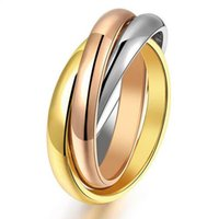 Wholesale three color gold ring - New Fashion Titanium Rings for Women Three Mix Color 316L Stainless Steel Rose Gold Plated Female 3 Ring Sets Wholesale