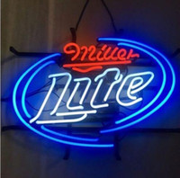 Wholesale Miller Lite Beer Neon Light - 17''X14'' New Miller LITE CUSTOM GLASS TUBE NEON LIGHT BEER BAR PUB SIGN