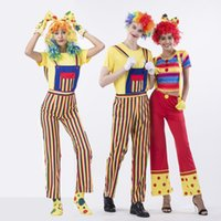 Wholesale Two Piece Halloween Costumes Women - Halloween Costume Circus Clown Suits Set Woman Harness Pants Striped Short Sleeve T Shirt Pants Set Couple Christmas Installed