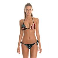 Wholesale American Flag Swim Suits - Hot Latest Sexy Bikini Women Fashion Swimming Suit Beach Bikini american flag 3D Digital Print Neck Rope Swimsuit Swimwear with One Size