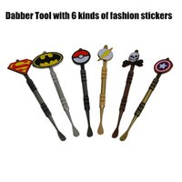 Wholesale batman - New Arrival colors Dabber tool with fashion deign stickers Pokeball Batman Captain superhero Flash and Skull wax Dab tool mm Jars Tool