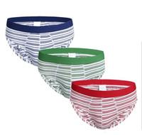 Wholesale Mens Stretch Briefs - Wholesale New exported Men's underpants Mens Fashion Strip Printed Cotton Briefs Breathable Broad Stretch Underwear 3 Colors M L,XL,XXL