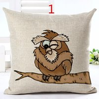 Wholesale Colour owl cartoon cushion for leaning on of home and office decoration Cojines sofa pillow Almofadas cotton linen square