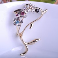 Wholesale Dolphin Clip - Wholesale- Rhinestone Crystal Wedding Cute Dolphin Brooches Coroa Collar Pin Hijab Pin Up Women Perfume Clips Cartoon Broche Broach Bijoux