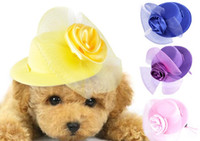 Wholesale 2017 Hot Sale Dog Hats Cat Pets Use High Quality Cloth Lace Flower Prince Style Cute Small Pets Hat For Summer