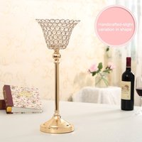 Wholesale Crystal Ball Holder Stand - Crystal Candle Holder Lotus Candle Lantern Flower Candle Stands Chandelier for Wedding Centerpiece Candelabra Housewarming Gifts