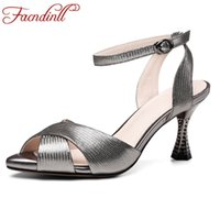 Wholesale Thin Men Dress Shoes - FACNDINLL new sexy thin high heels peep toe shoes woman summer gladiator sandals genuine leather silver women dress party shoes