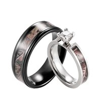 SHARDON Realtree Camo Engagement Wedding Ring Set Titanium Prong Setting CZ With Black Mens Band