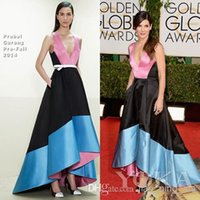 Wholesale Sandra Bullock Dresses - Golden Globe Awards Red Carpet Dress Inspired By Sandra Bullock Asymmetrical Mix Color Sexy Prom Dresses