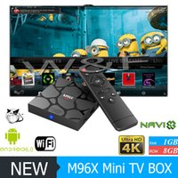 Wholesale Cheapest Android Tv - 2017 Cheapest M96X MINI 4K Android 6.0 TV Box Amlogic S905X KD 17.3 Loaded Media Players Better V88 X96 MXQ PRO