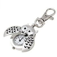 Wholesale Silver Owl Watch - Wholesale-Novel Design Free Shipping Hot Mini Metal Key Ring owl double open Quartz Watch Clock- Silver May26