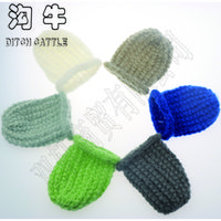 Wholesale Baby Photo Props Mohair - 0-3 months mohair hat fashion Baby Photography Props Hand knitting newborn photo props