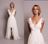 modern elbiseler çevrimiçi toptan satış-Toptan Vintage Dantel Line Gelinlik ile V Boyun Kap Kollu Hi Lo Ülke Tarzı Gelinlikler Çevrimiçi 2018