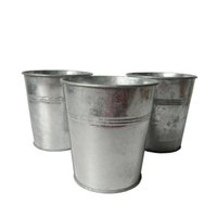 Wholesale green tin buckets - D10.5*H11CM Wholesale silvery Metal Planter garden bucket tin box Iron pots Galvanized Flower pot Planter