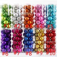 Wholesale Bright Shorts - 2017 Christmas Decorations Ball 24pcs Set Bright plating Ball 8cm 10 colors Resin Tree Decorations Ball Merry Christmas With Lanyard