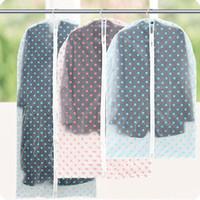 Wholesale suit dust covers - Waterproof Transparent Dot Style Clothes Dust Cover Clothing Suit Garment Hanging Pocket Storage Bag Organizer ZA3580