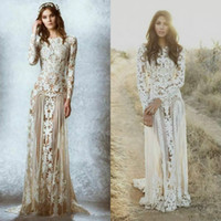 Wholesale Zuhair Murad Lace Bodice - Romantic Zuhair Murad Lace Wedding Dresses Garden Bridal Gowns Sweep Train Appliques Fall Long Sleeves Illusion Bodice Beach Wedding Dress