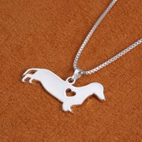 Wholesale Dachshunds Charms - Wholesale-Summer Jewelry 2016 Fashion Dog Shape Alloy Pendant Necklace Dachshund Charm Necklace