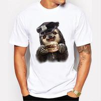 Wholesale Hamburger Man - 2018 New Arrivals Funny sloth Eat hamburgers Design Men's T Shirt Boy Cool Tops Hipster Printed Summer T-shirt