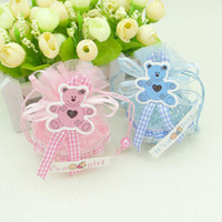 Wholesale Wholesale Baby Gift Baskets - New Arrival-24pcs Blue Pink Color Yarn Basket Candy Box Boy Girl Gift Bags Baby Shower Birthday Party Decorations Supplies