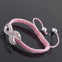Wholesale Breast Cancer Rhinestone Connectors - Pink Crystal Rhinestone Ribbon Breast Cancer Connector Sideways Macrame Shamballa Bracelets FREE SHIPPING