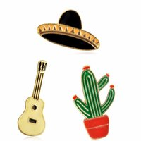 Wholesale Guitars China Wholesale - Simple Jewelry Hat Guitar Mexican Cactus Enamel Pin Brooch Badge Metal Girls Jeans Bag Decoration Best Friend Friendship Gift