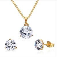 sistemas de la joyería de cristal de la boda al por mayor-CZ Crystal Necklace Earrings Conjuntos de Joyas para Mujer Joyería de Moda Anillos de Boda Plateados Aniversario S-160