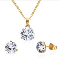 Wholesale Women S Earrings Gold Plated - CZ Crystal Necklace Earrings Jewelry Sets For Women Fashion Jewellery Gold Plated Anniversary Wedding Jewelry Sets S-160