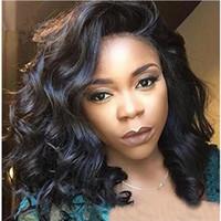 sıcak güzellik insan saçı toptan satış-Sıcak Güzellik 8A Kalite Kısa Tam Dantel İnsan Saç Peruk Siyah Kadınlar için Brezilyalı Bakire Saç Tutkalsız Bob Dalgalı Dantel Ön Peruk