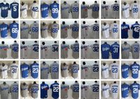 Wholesale Los Dodgers - LA Los Angeles Dodgers #22 Clayton Kershaw 23 Gonzalez 5 Seager 31 Pederson 66 Puig 99 Ryu 35 Bellinger baseball jersey white blue