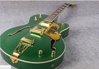 Wholesale Green Electric Jazz Guitar - new best selling Metal green finish 6120 hollow body electric jazz guitar Grets jazz guitar free shipping