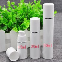 Wholesale Vacuum Pumping Cylinders - 15ml empty white pp silver cylinder vacuum plastic bottle with airless pump 15g snap on airless bottles for cosmetic packaging