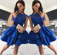 Wholesale Homecoming Cocktail Dresses Royal Blue - 2017 Short Royal Blue Cocktail Dresses Jewel Neck Illusion Sheer Long Sleeves Hollow Back tiered Ruffles Sweet 16 Homecoming Dress Prom Gown