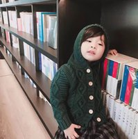 Wholesale Girls Cardigan Retail - Retail 2017 Autumn New Ins Girls Cardigan Children Clothes Knitting Wool Long Sleeve Fashion Hooded Sweater Coat 1-5T LM002