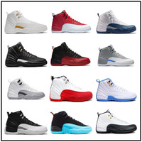 Wholesale Cool Shoes Free Shipping - free shipping new air retro 12 basketball shoes low cool grey georgetown sneaker Low playoff athletic white&black OVO discount sport shoes