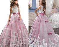 Wholesale Embroidery Aline Wedding Dress - Kauste Ball Gown Dress Pink Lace Tullle Dress Aline Flower Girl Dress For First Communion Party For Wedding For Birthday Party