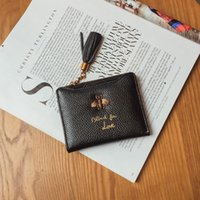 Wholesale Clutch Purse Bags Cowhide Leather - Women Luxury Brand Fashion Genuine Leather cowhide Wallet Women Small Purse Female Short Design blind for love bea pattern clutch bags