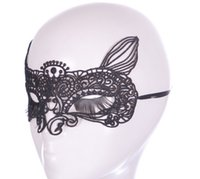 Wholesale Sexy Female Masks - New product sexy black fox lace mask fashion queen female dance party nightclub bar accessories 5028