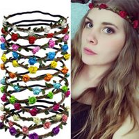 Wholesale Band Elastic Flower Ladies - HOT Bohemian Headband girl Women Flowers Braided Leather Elastic Headwrap for Ladies hair band Assorted Colors Hair Ornaments hairband JC229