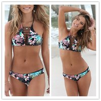 Wholesale Brazilian Neck - Bikini Swimwear Sexy Bathing Suit Swimsuit Bikini Set Brazilian Women Swimsuit Swimming Suit Halter High Neck BikinI Female