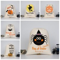 Wholesale Goody Bags - 9 Styles Halloween Drawstring Bag Goody Loot Pumpkin Sack Bags Spider Devil Gifts Bags Canvas Bag Sack Candy Bags Handbags CCA6928 300pcs