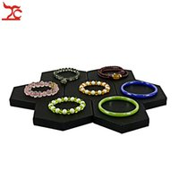 Wholesale Earring Tray Diy - DirectSale 2Pcs Jewelry Display Stand Flat Hexagon Black PU Bracelet Bangle Jade Bead Chain Watch Holder Organizer DIY Stand Tray