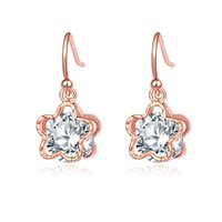 New Arrival Fashion Jewelry Boucles d'oreilles pour femmes Rose / White Gold plaqué CZ Diamond Stud Earrings Flower Earring Alloy High Quality Earings