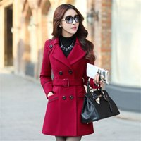 Wholesale New Designs Female Coats - Plus Size 2017 New Fall And Winter Clothes Woman Long Design Wool Coat Female Fashion Slim Thin Long Blends Trench Overcoat XXXL