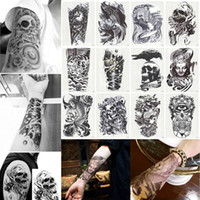 Wholesale Neck Face Art - New Large Temporary Tattoos Arm Body Art Removable Waterproof Tattoo Sticker Mixed Randomly Sent Free Shipping