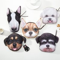 Wholesale Mini Bags For Changes - Sweet 3D Dog Printing Wallets Collie Pug Dog Coin Purses Fashion Wallet handbag Cute Change Bags Zipper for women 0629
